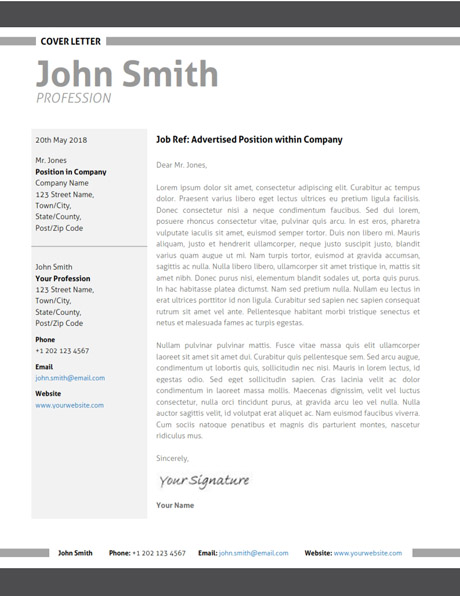 covering letter templates