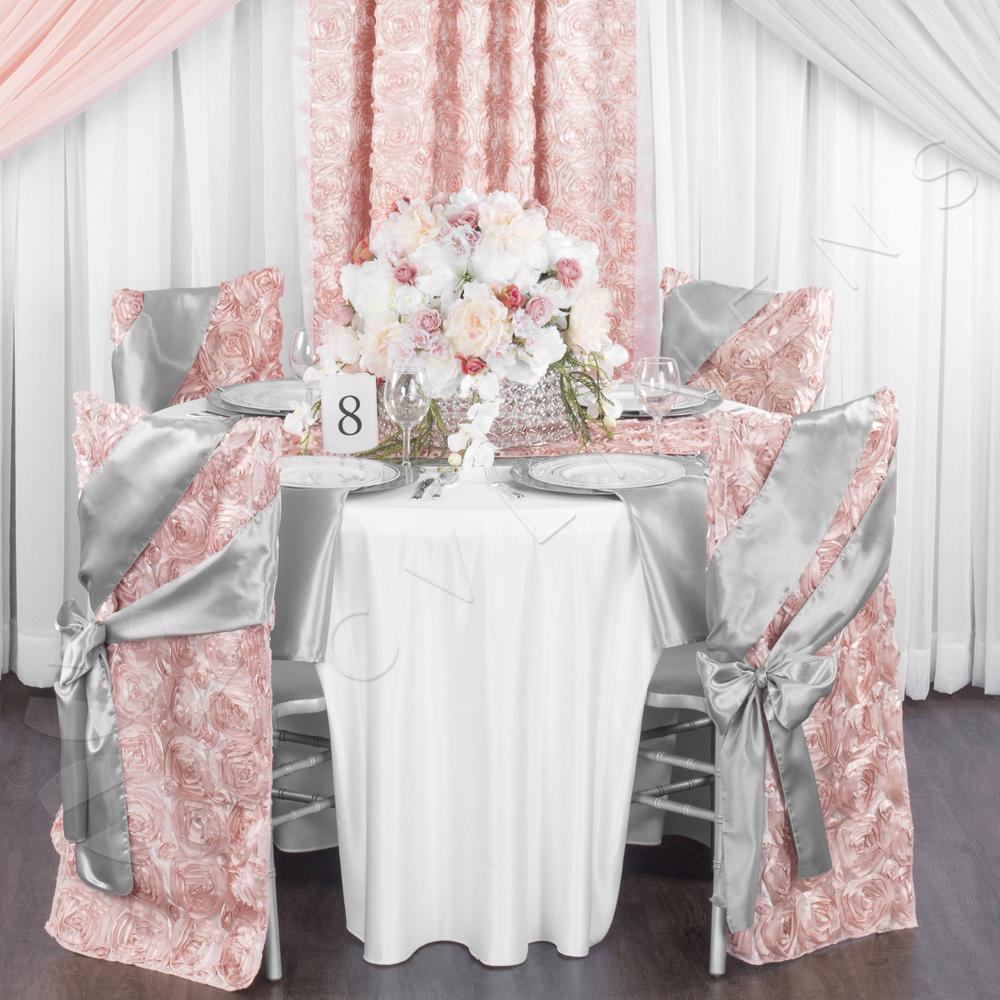 chair covers rose gold baby feeding satin rosette full back cover blush cv linens chiavari clearance