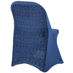 Blue Spandex Chair Covers Swivel With Footstool Folding Glitz Sequin Cover Navy Cv Linens