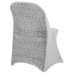 Burlap Chair Covers For Folding Chairs Kitchen Argos Glitz Sequin Spandex Cover Silver Cv Linens