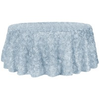 "Wedding Rosette SATIN 132"" Round Tablecloth - Dusty Blue ..."