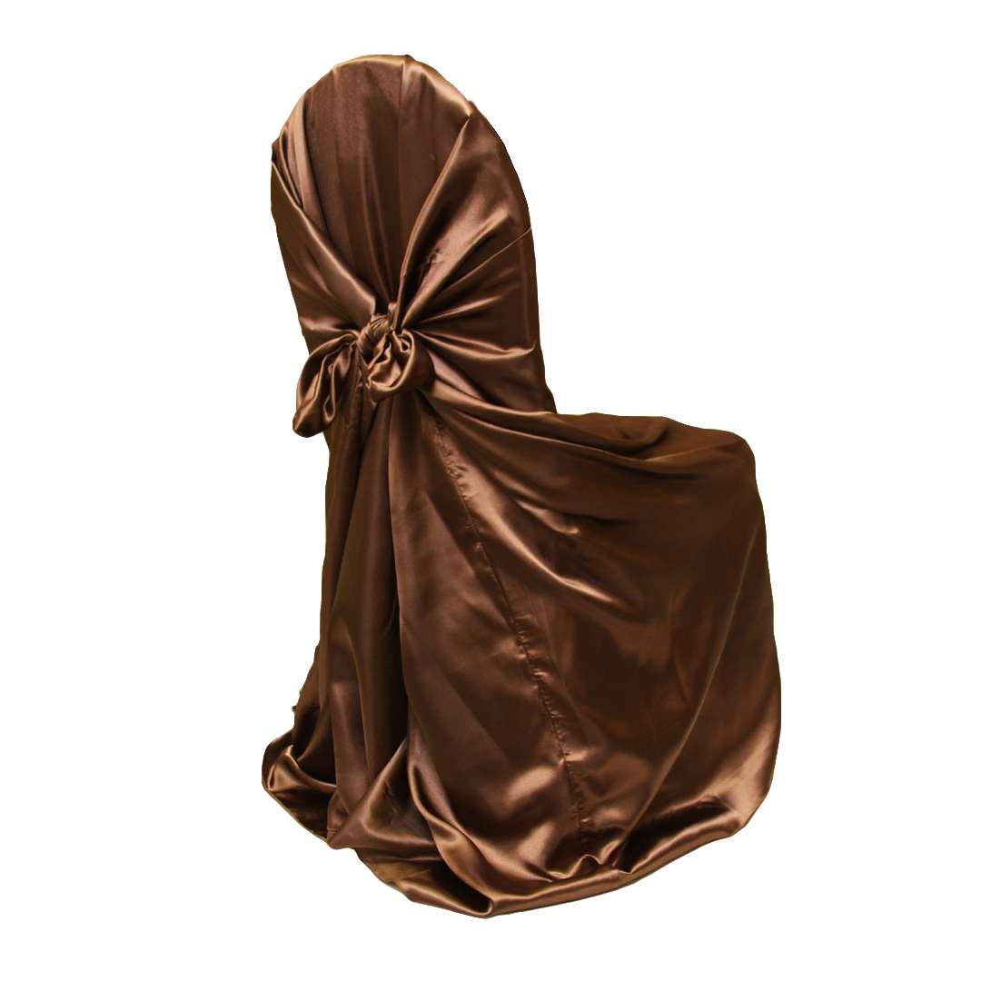 chair covers universal green lounge satin self tie cover chocolate brown at cv linens