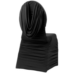 Black Banquet Chair Covers For Sale Brown Leather Club Swag Back Ruched Spandex Cover Cv Linens