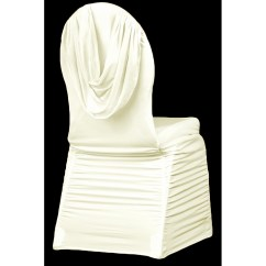 Ivory Chair Covers Spandex Home Office Desk And Set Swag Back Ruched Banquet Cover Cv Linens