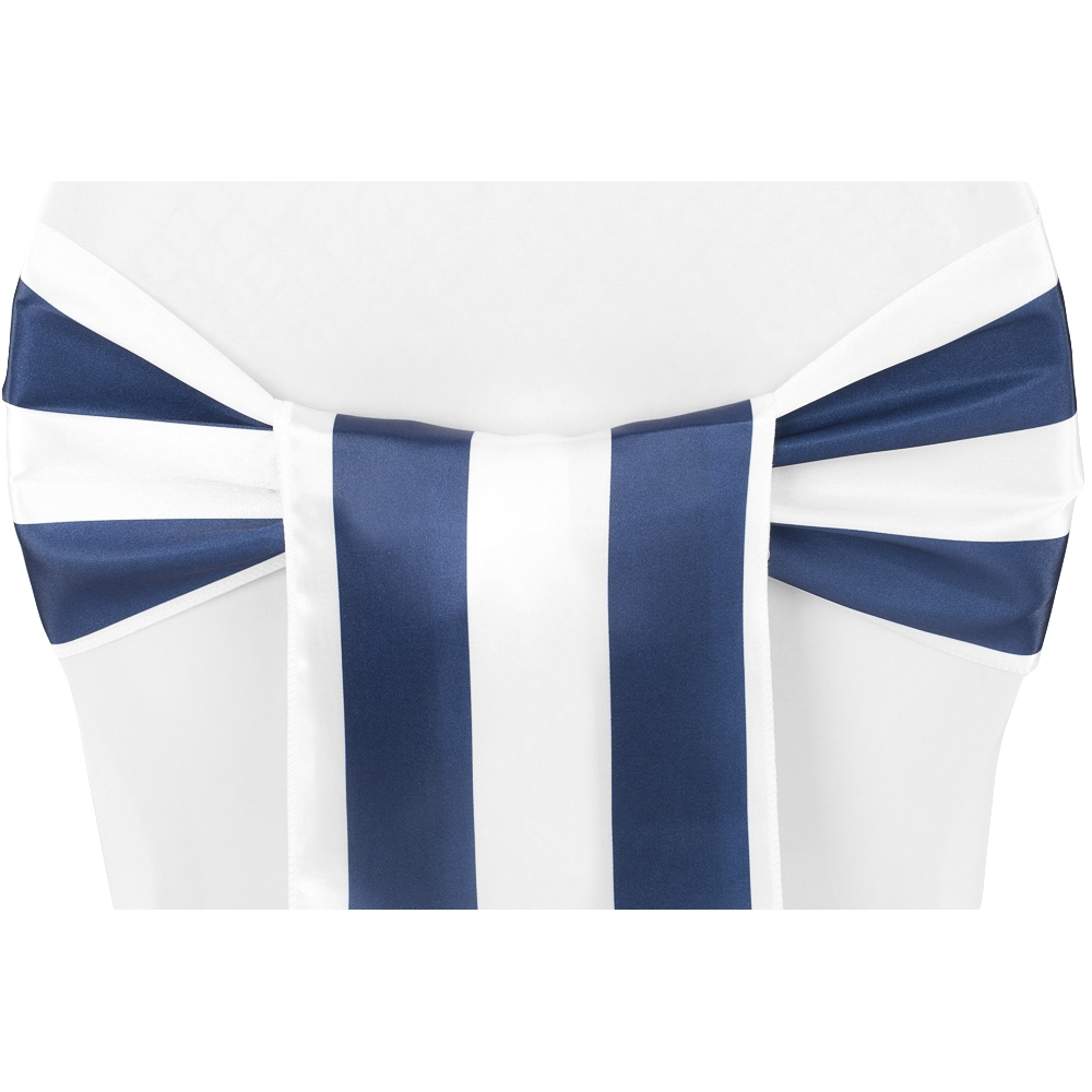 blue and white striped chair bed pillow stripe satin sash navy cv linens