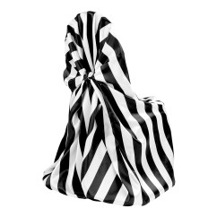 Chair Covers Price Office Depot Folding Chairs Universal Satin Self Tie Cover Stripe Black White At Cv Linens