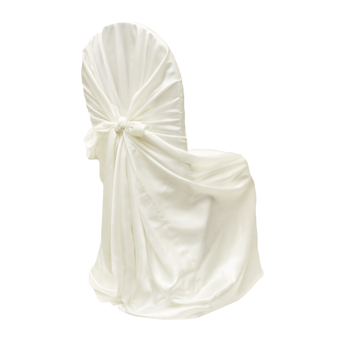 bulk satin chair covers home office desk chairs uk universal self tie cover ivory at cv linens