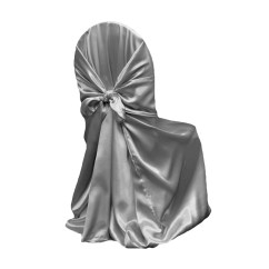 Cheap Universal Chair Covers Dining Green Satin Self Tie Cover Silver At Cv Linens