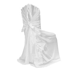 Cheap Black Chair Covers For Sale Ikea Breakfast Table And Chairs Universal Satin Self Tie Cover White At Cv Linens