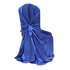 Royal Blue Chair Covers Wicker Chairs Ikea Universal Satin Self Tie Cover At Cv Linens