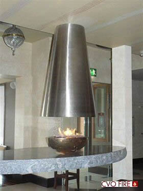 FORUM firebowl on contemporary table stainless steel