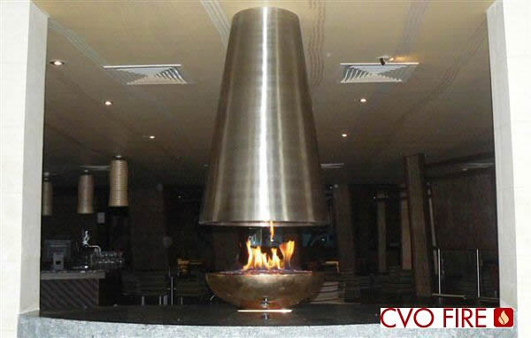 bronze large oval firebowl with stainless steel contemporary cone chimney