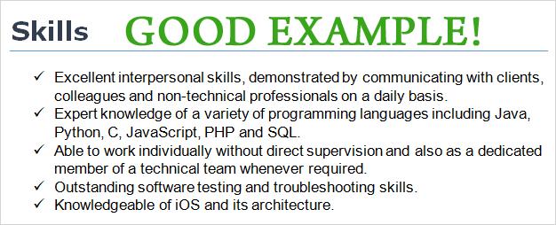 Cv Skills Example