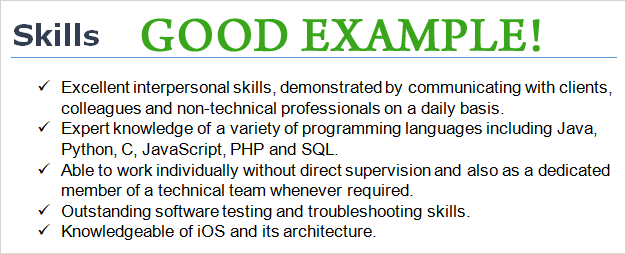 cv template skills types