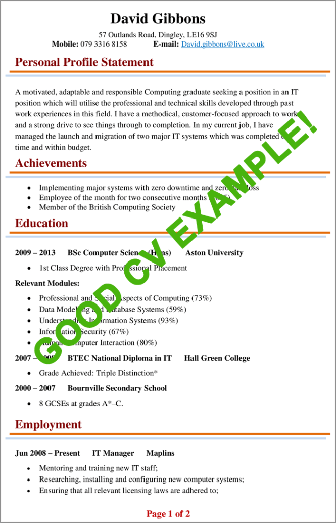Cv Examples Example Of A Good