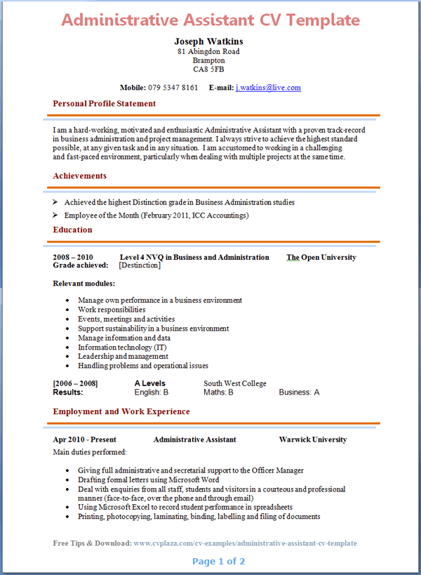 Administrative-istant-CV-Template-Page-1 Sample Application Letter For A Lecturer on summer job, for ojt students, email job, example for, college admission,
