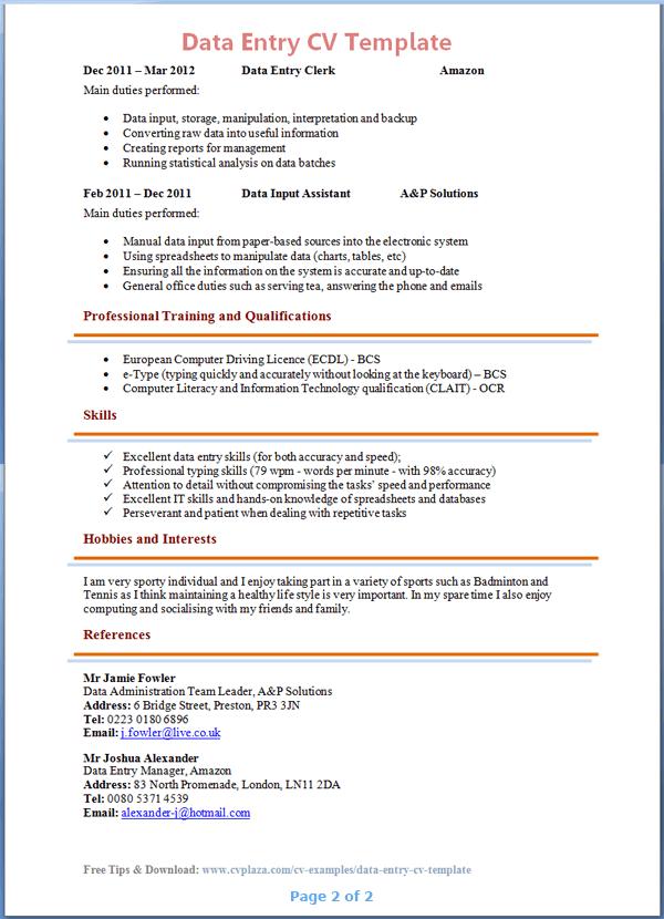 Data Entry CV Template 2