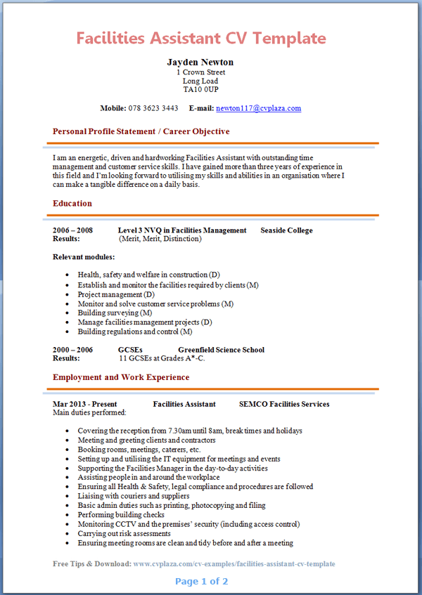 Facilities Assistant CV Example Preview Page 1