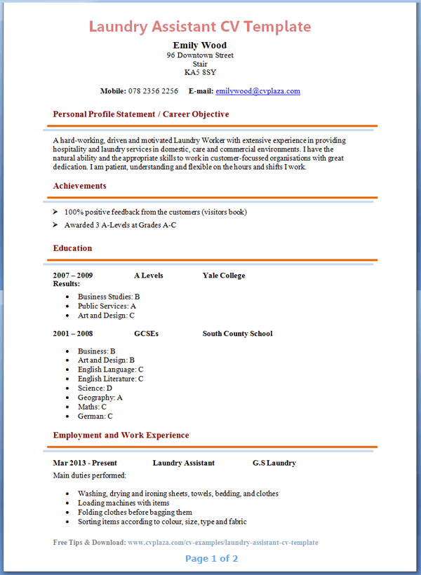 cleaning company resume sample