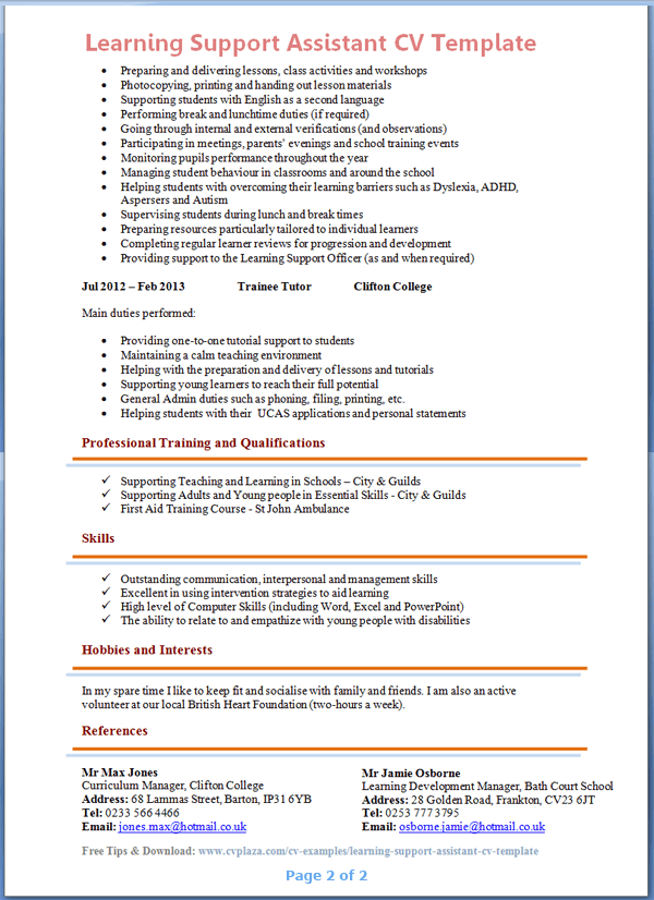 Learning assistant resume for Cover letter for learning support assistant