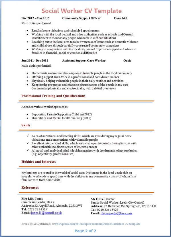 example resume for a social worker