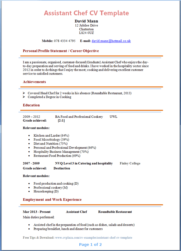 istant-chef-cv-template-page-1 Sample Application Letter For Chef De Partie on