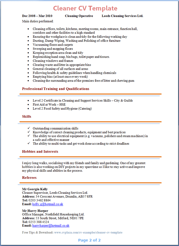 cleaner-cv-template-2 Targeted Resume Format on