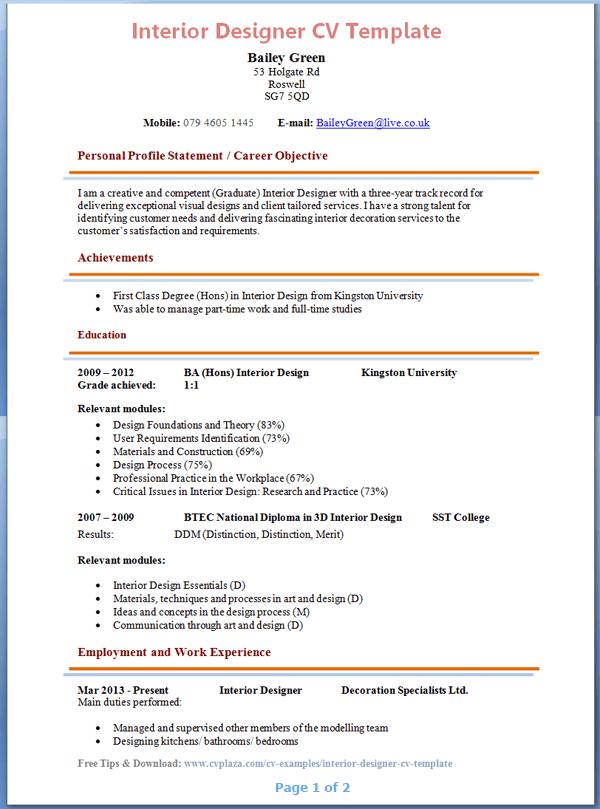 sample resume for interior design internship