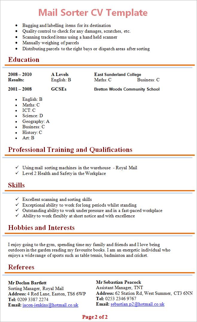 sorter resume template
