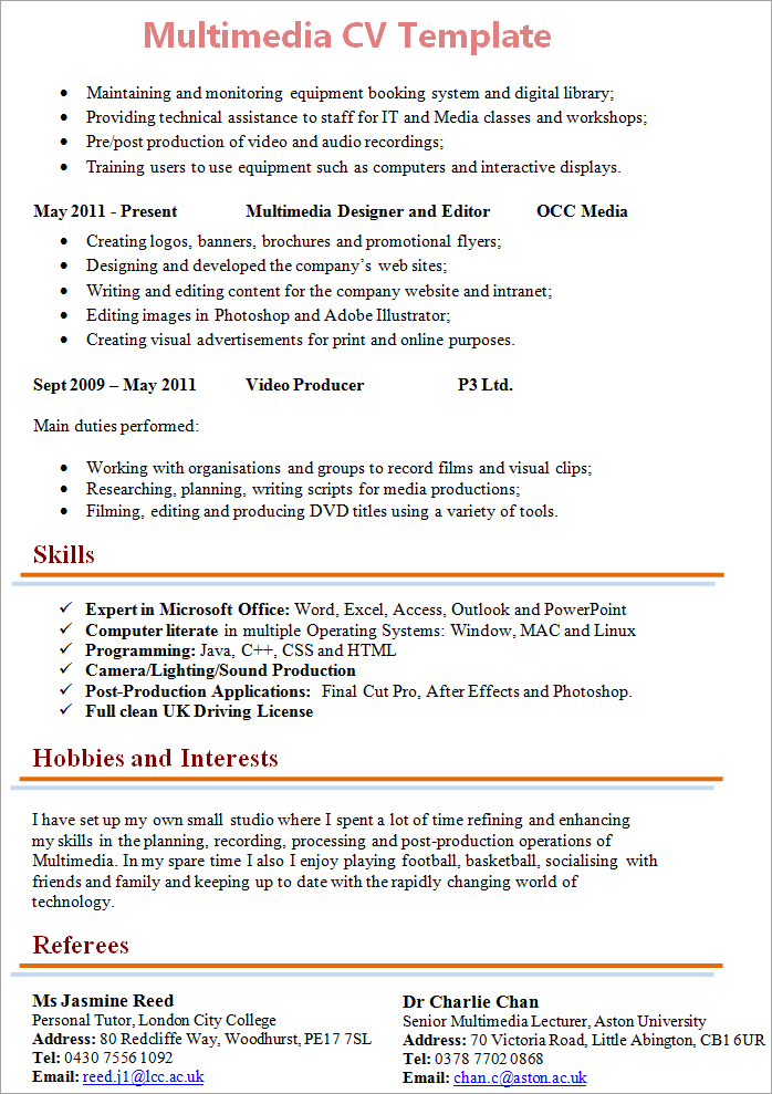 Multimedia Technician Cv Template 2