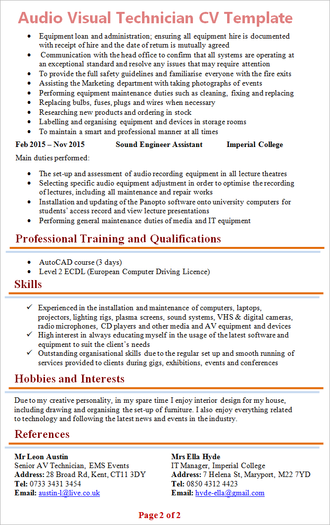 audio and video resume template