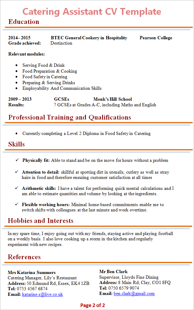 catering assistant cv uk example
