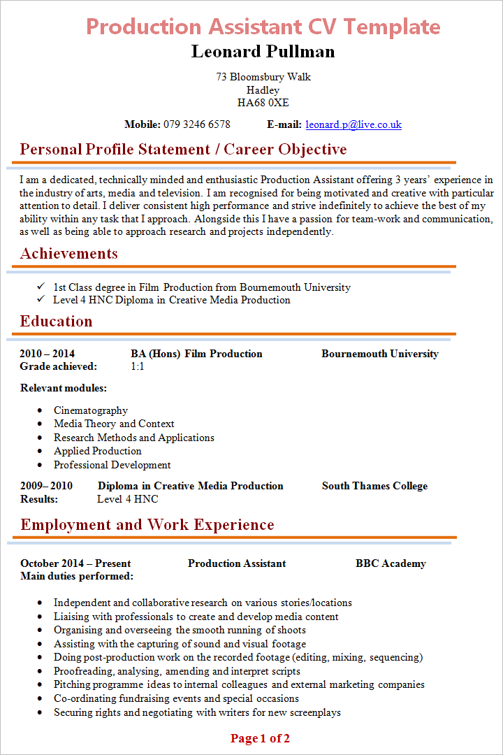 Production Assistant Cv Template 1