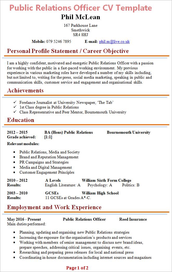 cv for public relation officer