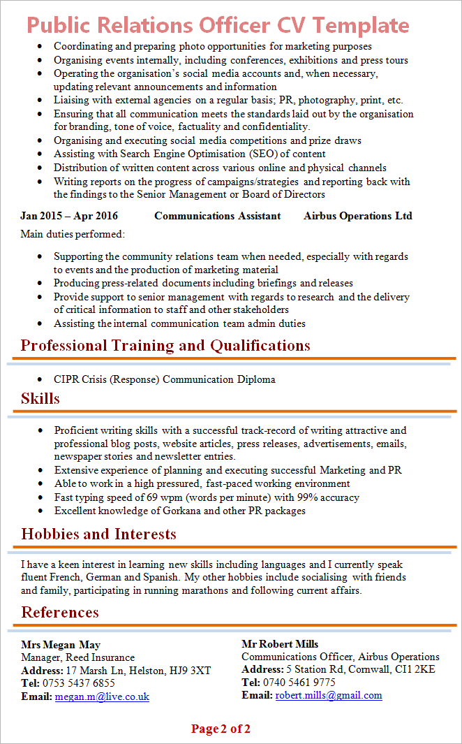 Public Relations Officer Cv Template 2