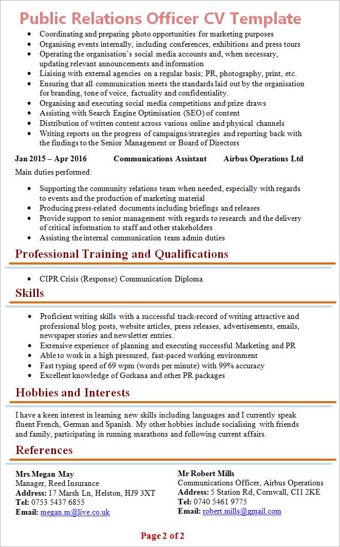 marketing manager cv template