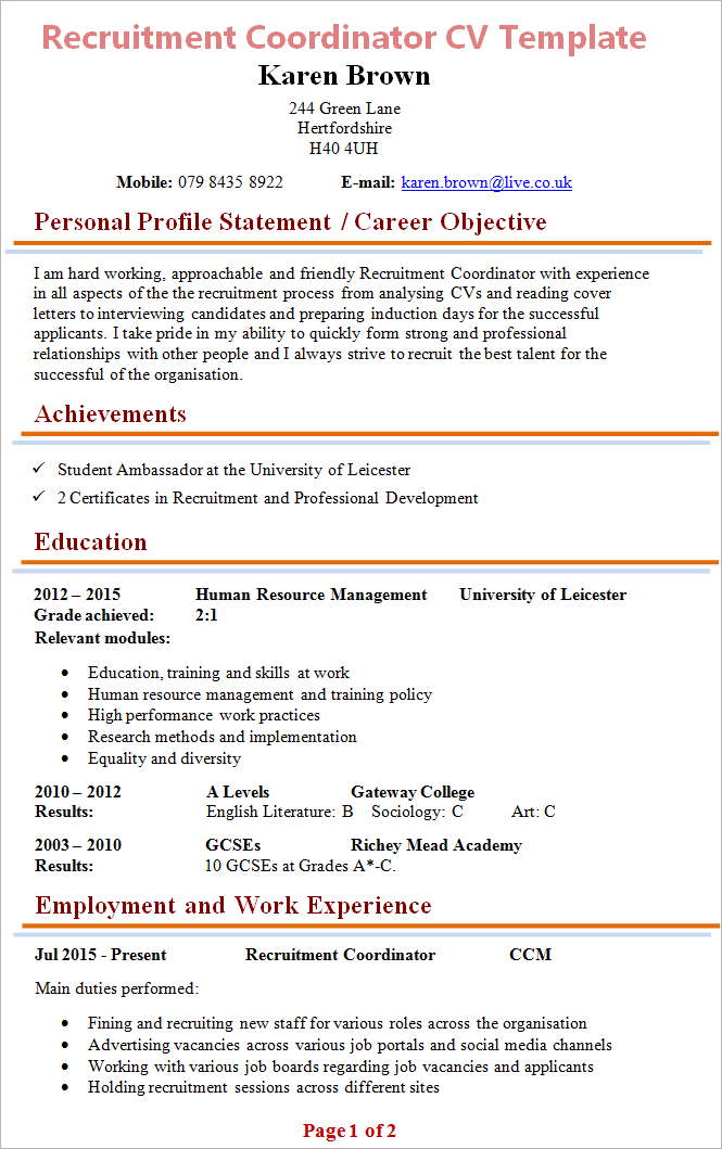 resume personal objective statement examples
