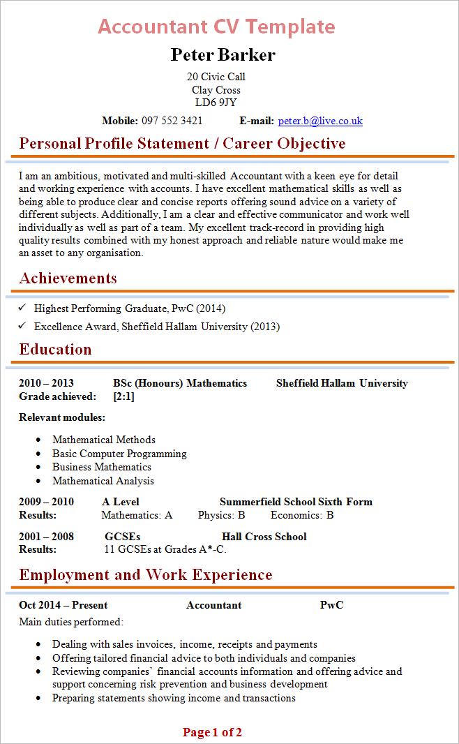 cv template role graduate