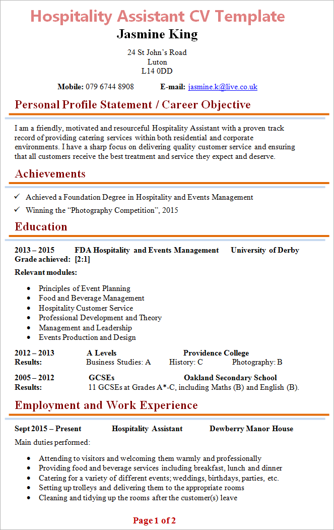 resume have statement