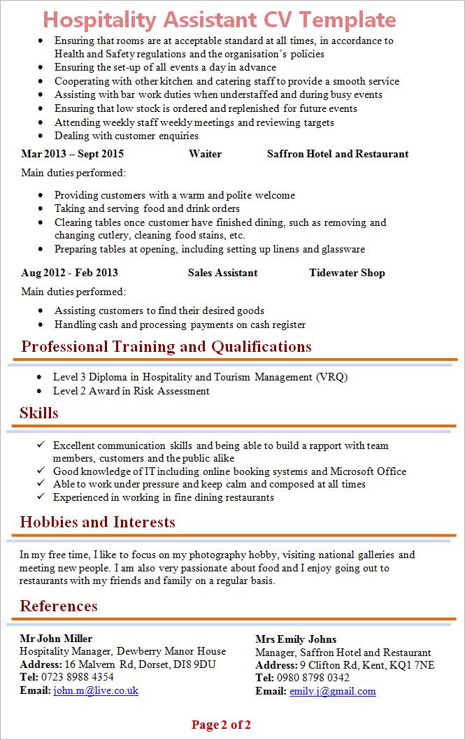 Hospitality Assistant Cv Template 2