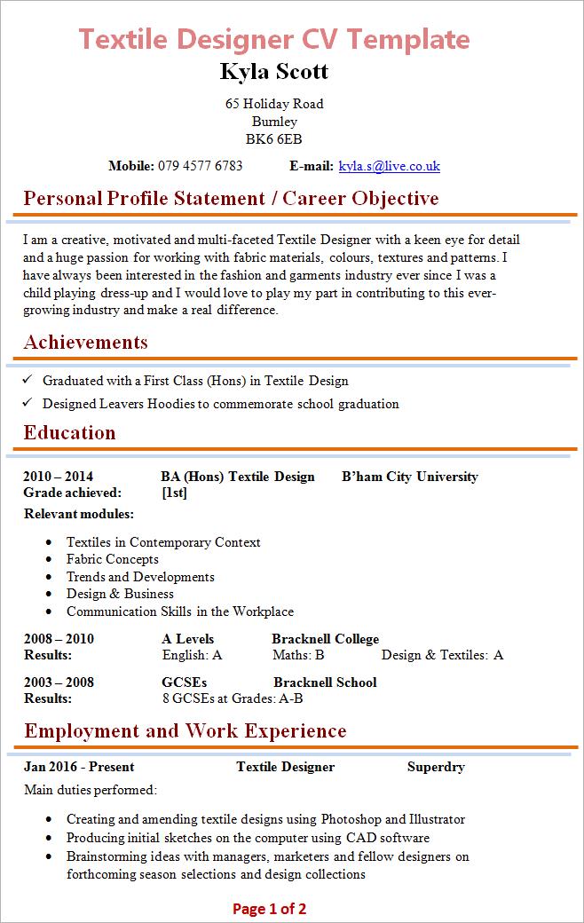 Textile Designer Cv Template 1