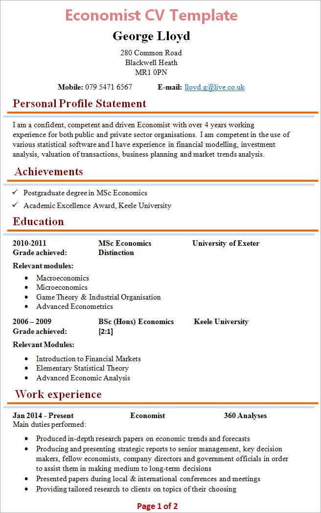 graduate economist resume sample