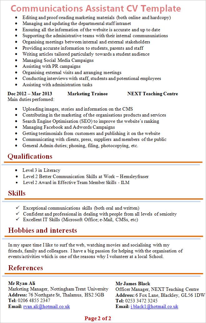communication assistant cv