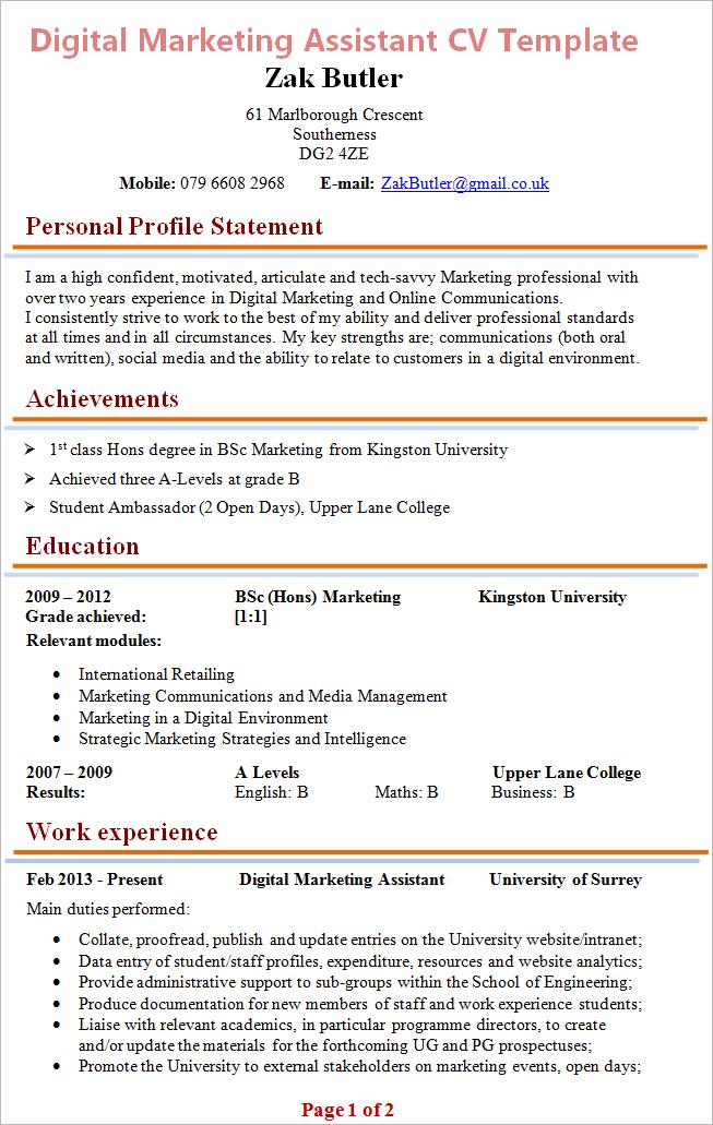 digitalmarketingassistantcvexample