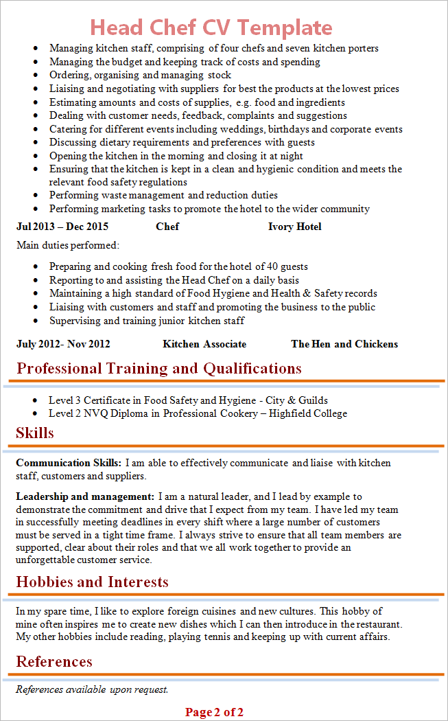 Head Chef CV Template + Tips and Download - CV Plaza