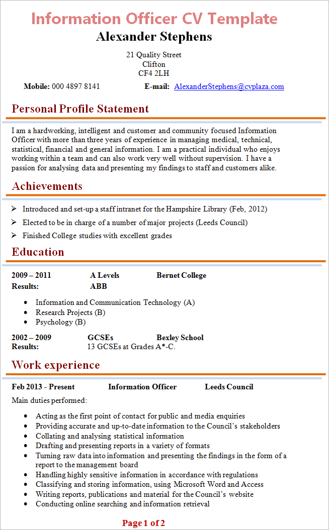 cv email example