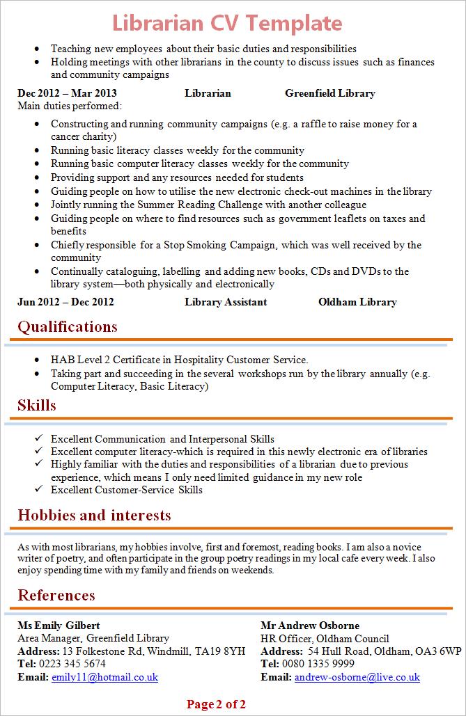 Librarian Cv Template 2