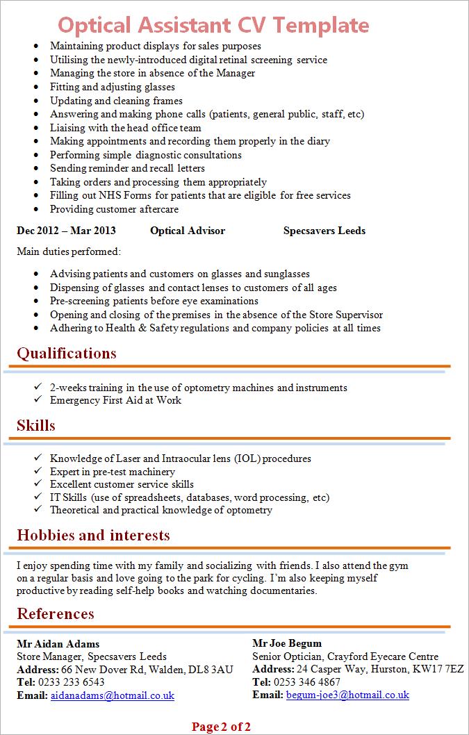 optician example resume