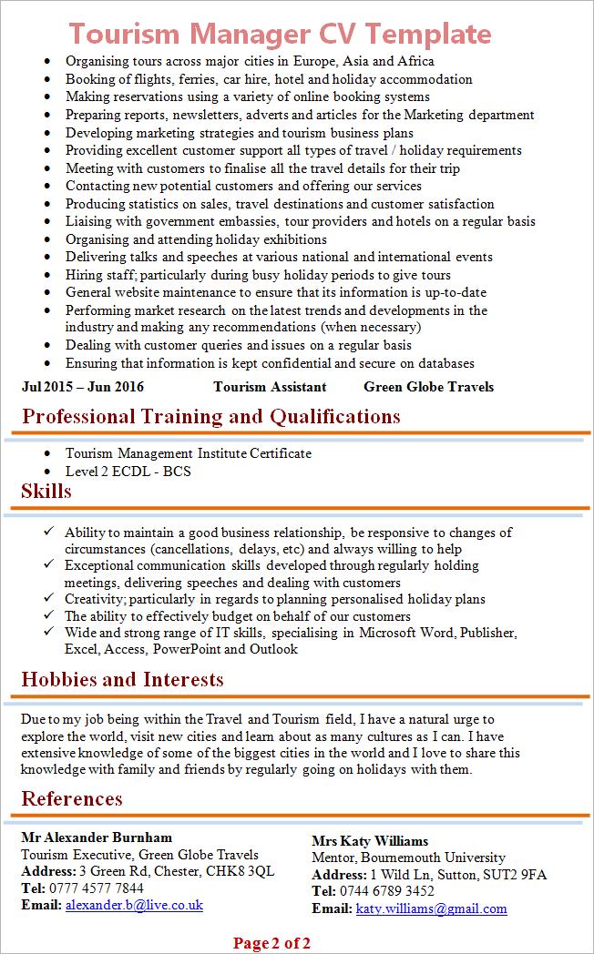 Tourism Manager Cv 2