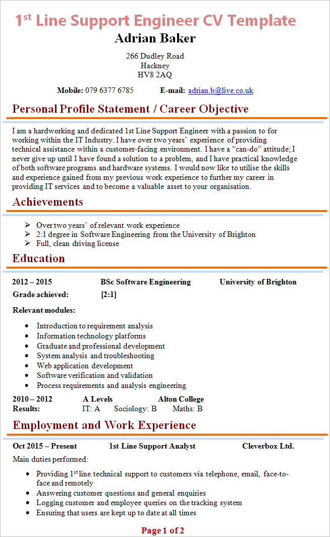 1st Line Support Engineer Cv